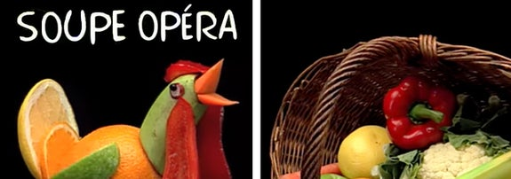 Left: A rooster made out of fruits and vegetables; Right: A basket filled with produce