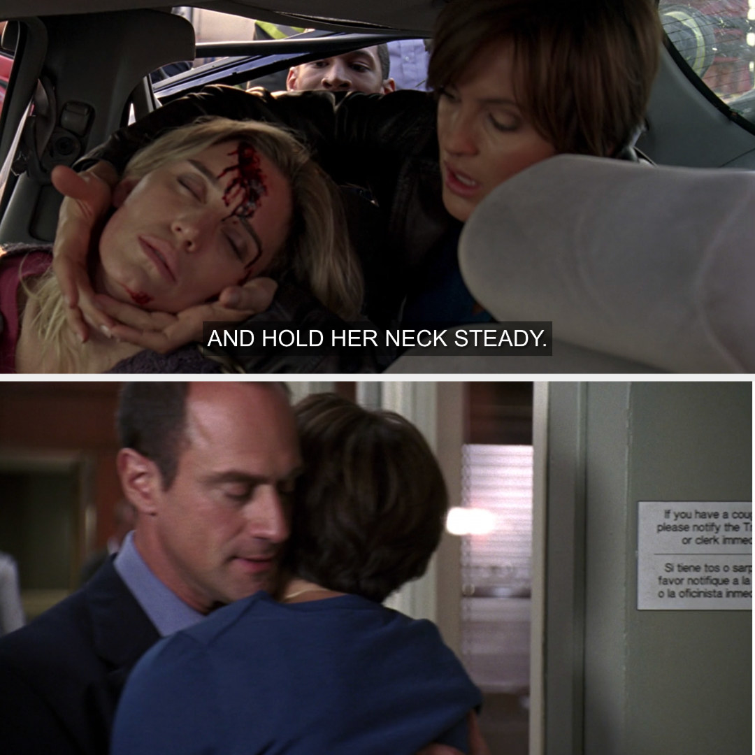 Benson rescuing Kathy after her car accident; Benson and Stabler hugging in the hospital waiting room