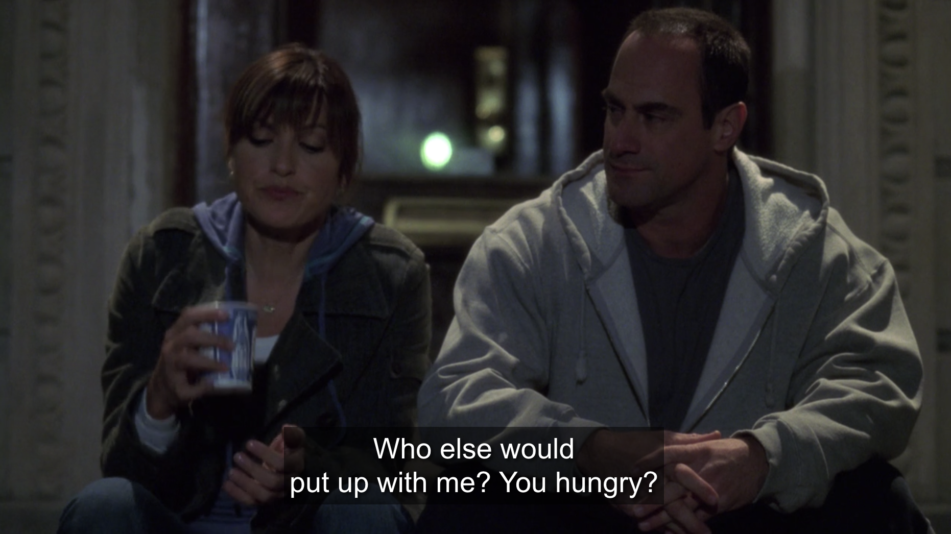 Benson and Stabler having a conversation on his stoop