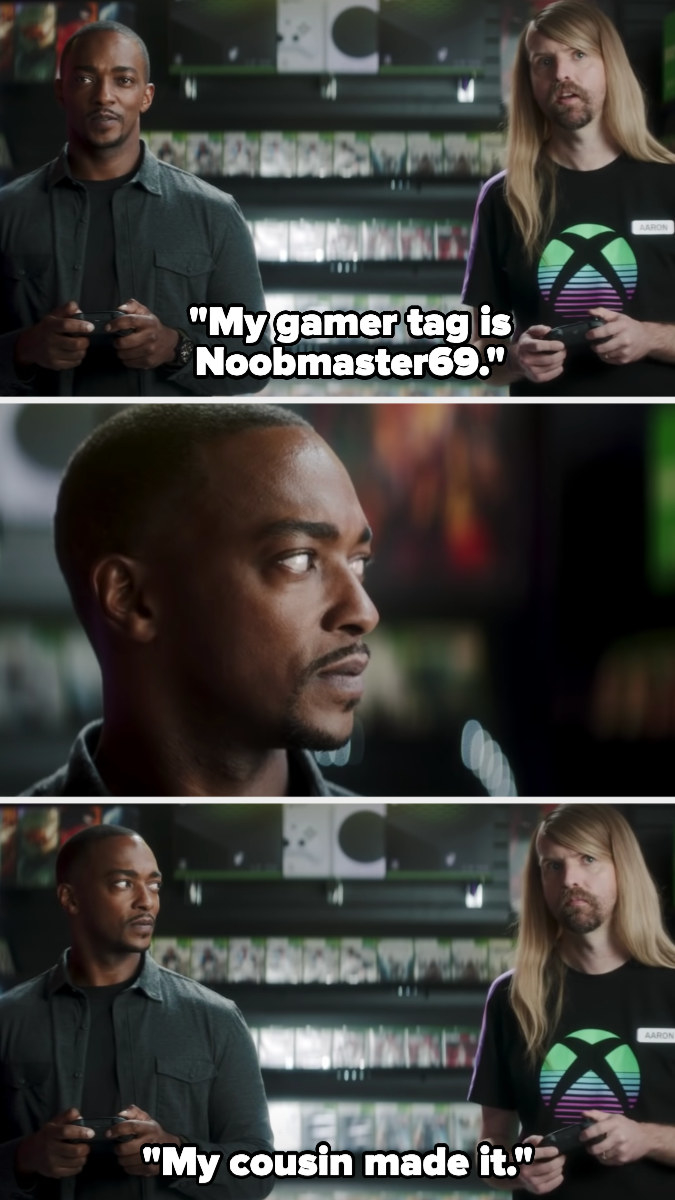 employee says his gamer tag is Noobmaster69 —when Sam shoots him a look, he explains that his cousin made it