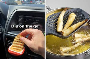 person dipping a waffle fry into a sauce in a car vent holder, a colander spoon getting egg rolls out of a boiling pot of oil