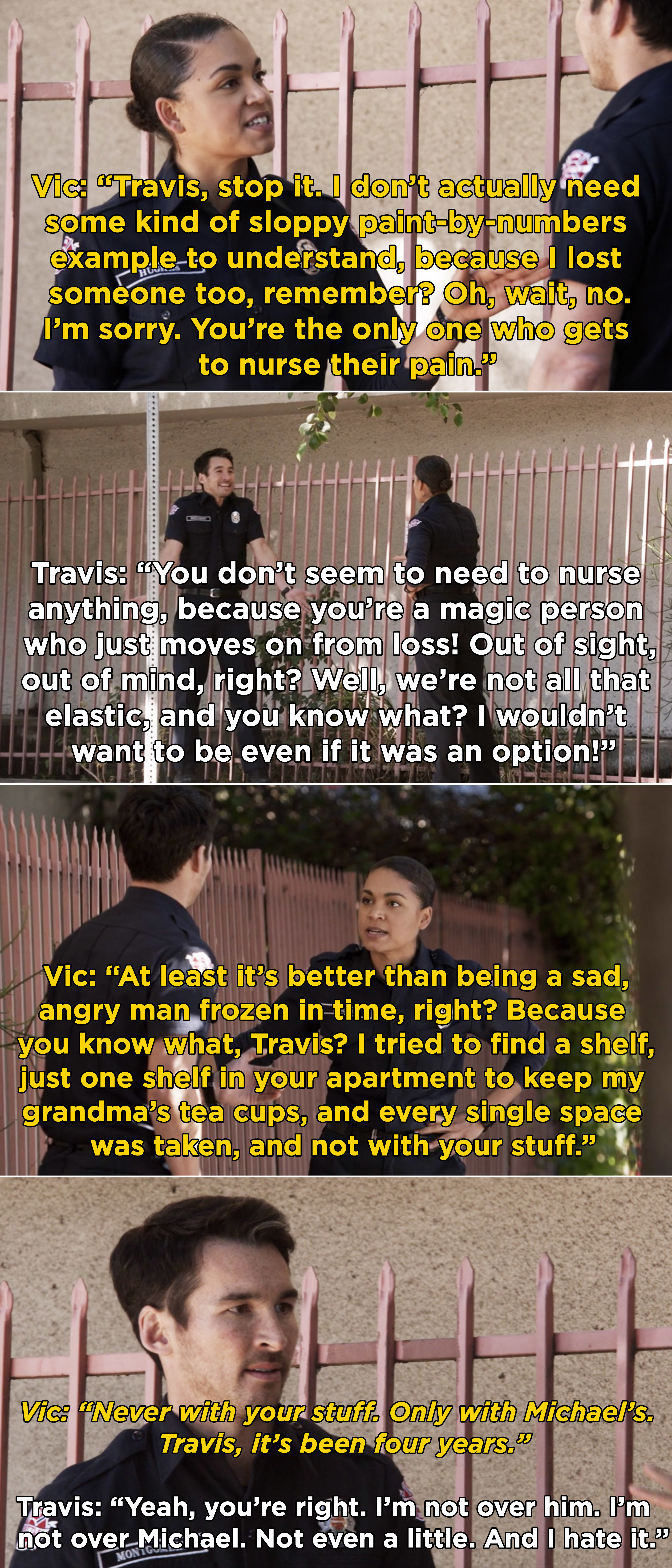"Vic telling Travis that he is ""frozen in time"" and he needs to learn to move past Michael's death"