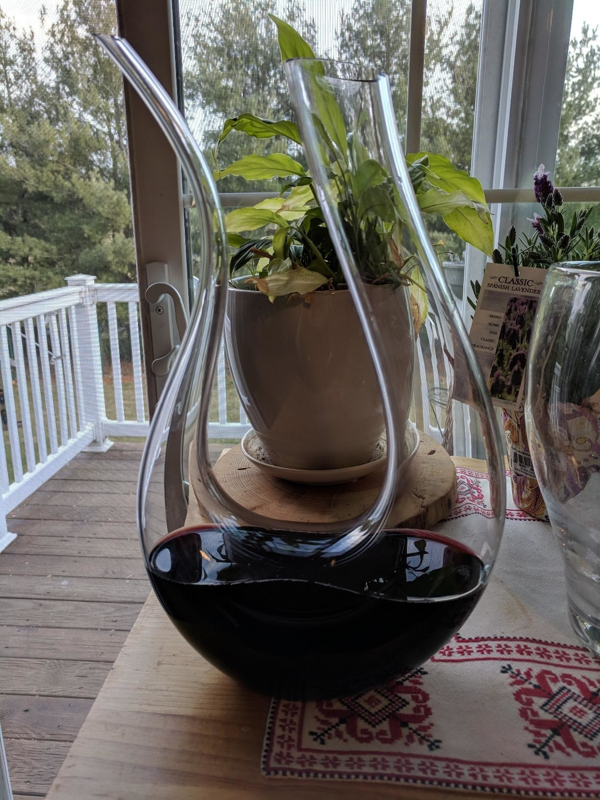 reviewer image of the u-shaped glass decanter with one side thicker than the other and wine at the bottom of it