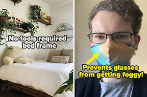 "on the right a buzzfeed writer's bed captioned ""no-tools-required bed frame,"" on the left a buzzfeed writer in a multicolored blue and yellow striped face mask captioned ""prevents glasses from getting foggy"""