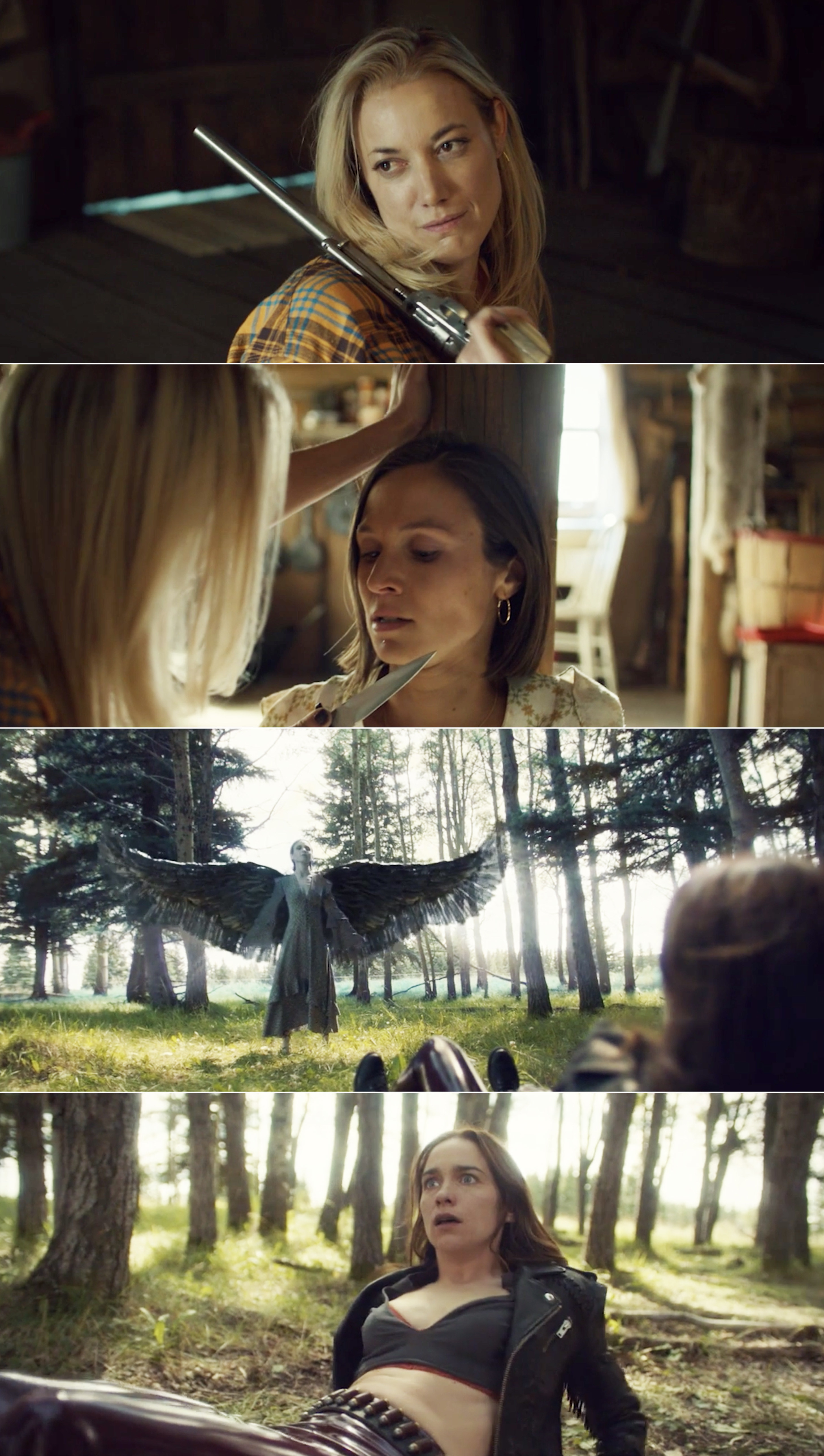 Jolene threatening Waverly with a knife and Wynonna looking shocked while seeing Waverly with black angel wings