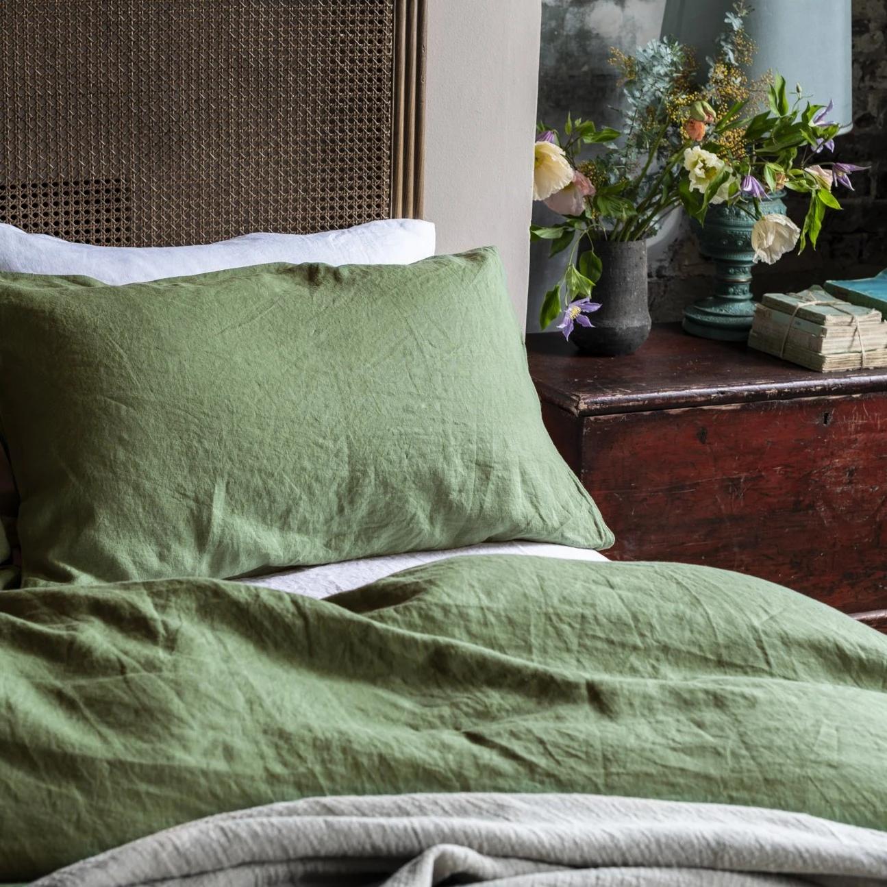 green linen sheets