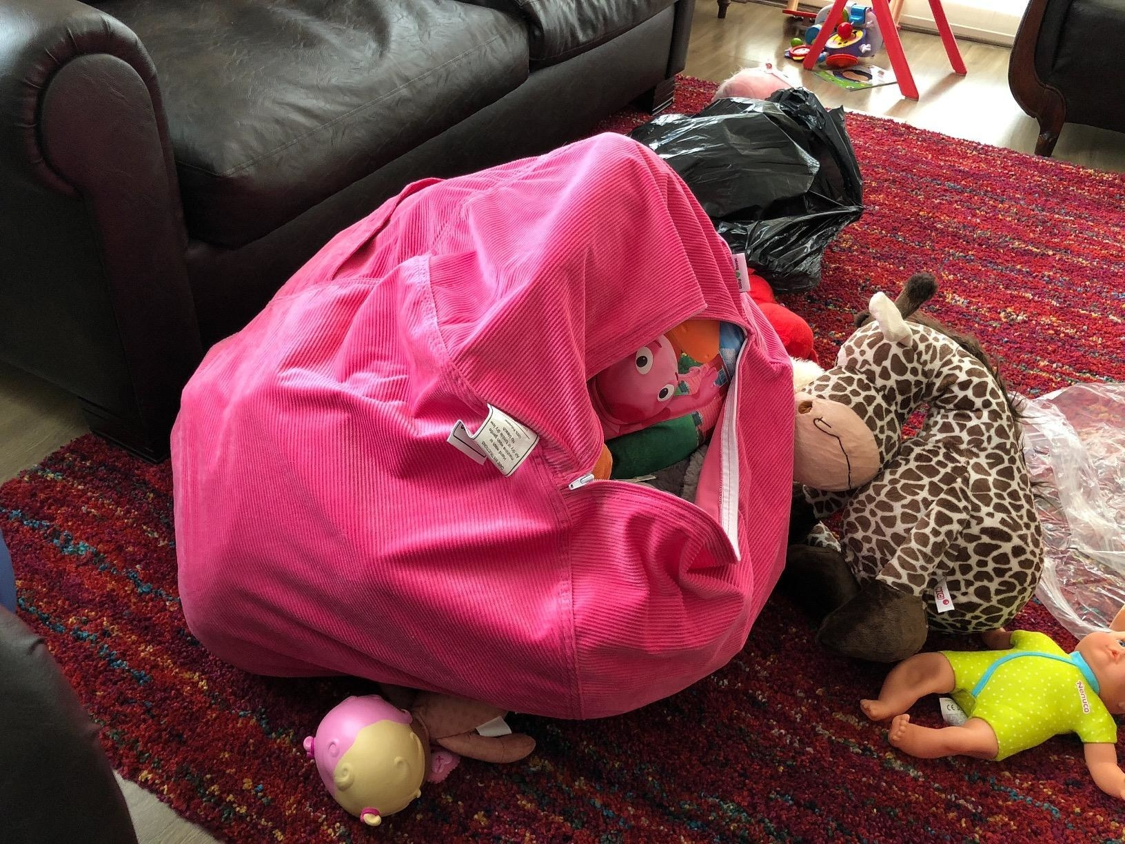 Reviewer bean bag with stuffed toys inside