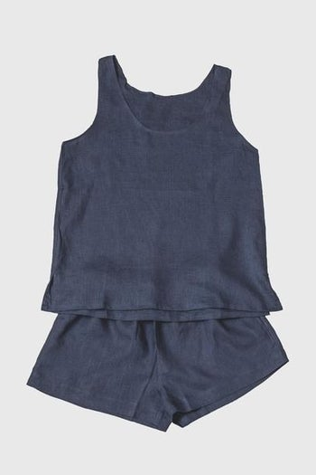 the linen tank top and short set in dark blue