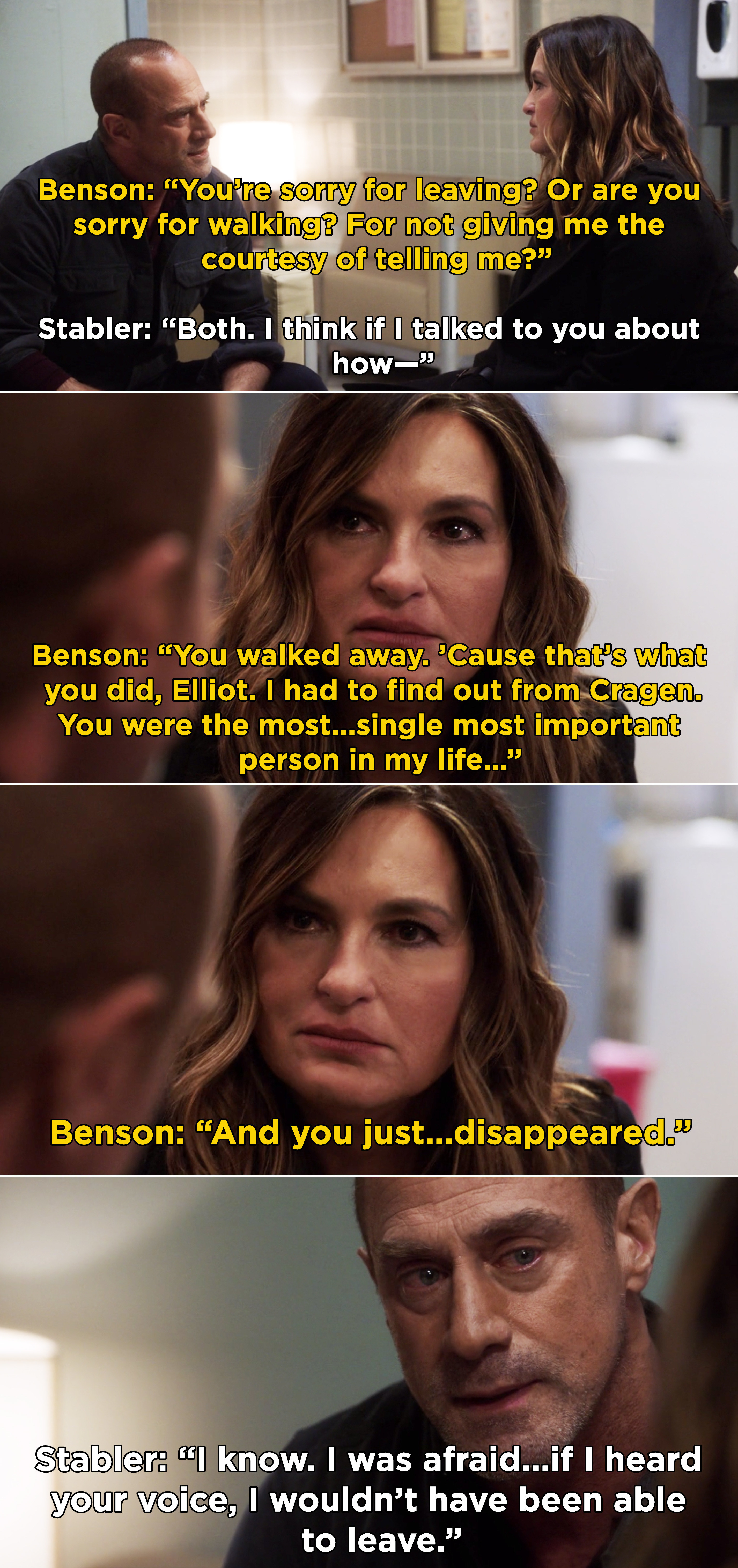 "Benson telling Stabler that he was the ""single most important person"" in her life and when he left it hurt"