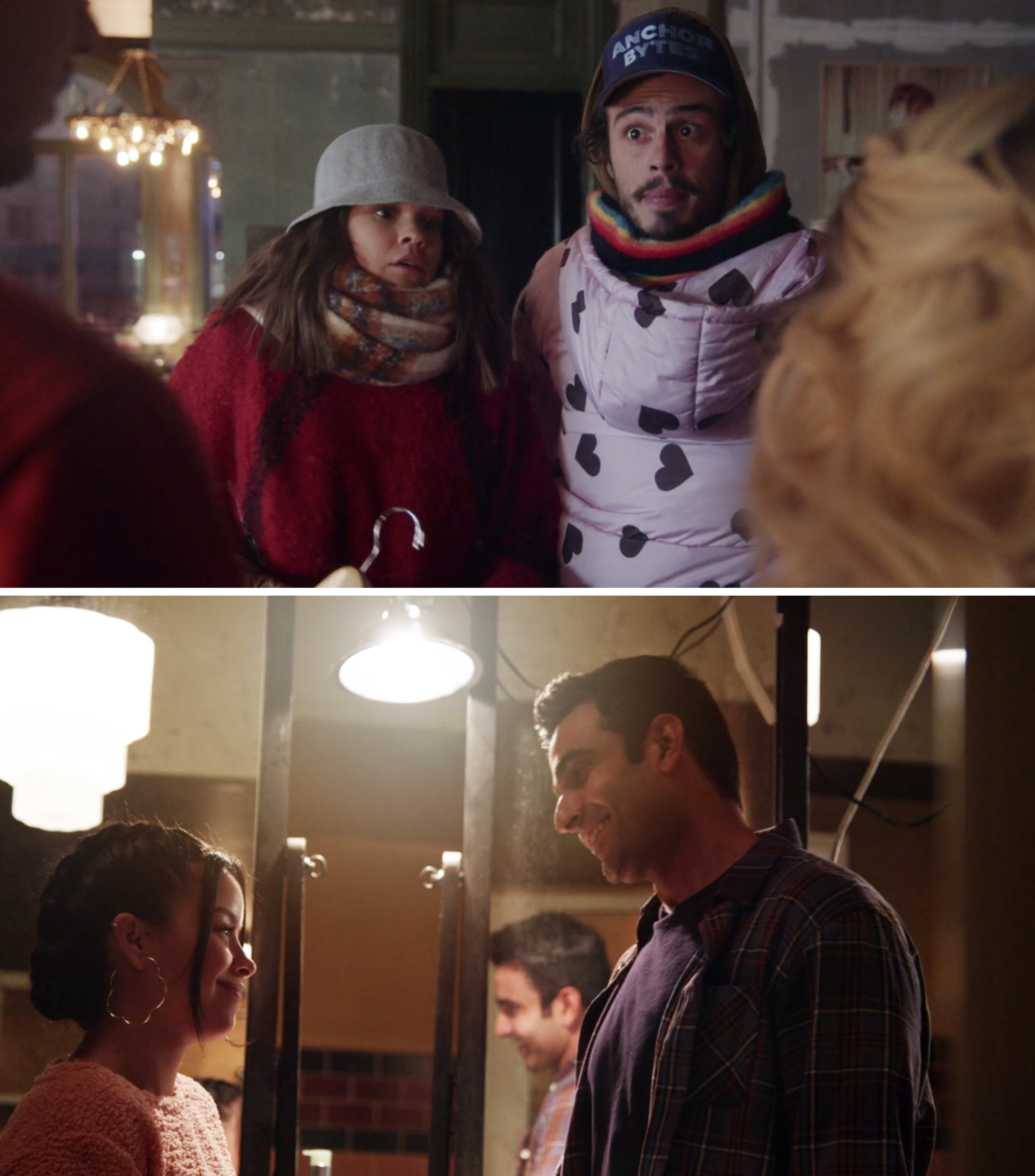 Callie and Gael hilariously wearing multiple layers of coats and Marianna and Raj talking in the bathroom