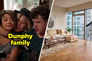 """Claire Dunphy hugs her kids Haley and Luke during an episode of the show """"Modern Family""""and an L shaped couch sits in front of floor to ceiling windows next to a telescope."""