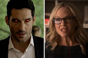 lucifer on the left with glowing read eyes and doctor linda on the right