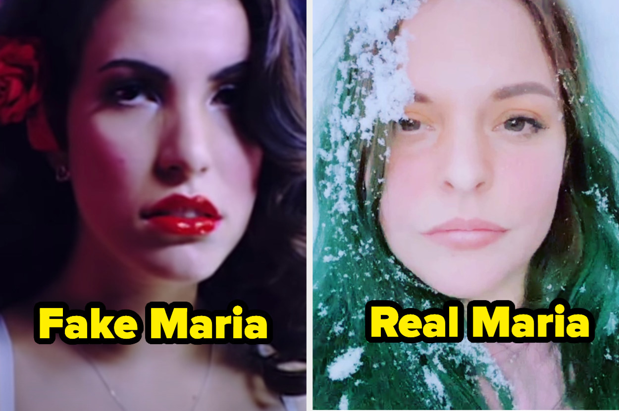 """the maria from song's music video with the text """"fake maria"""" and maria with the text """"real maria"""""""
