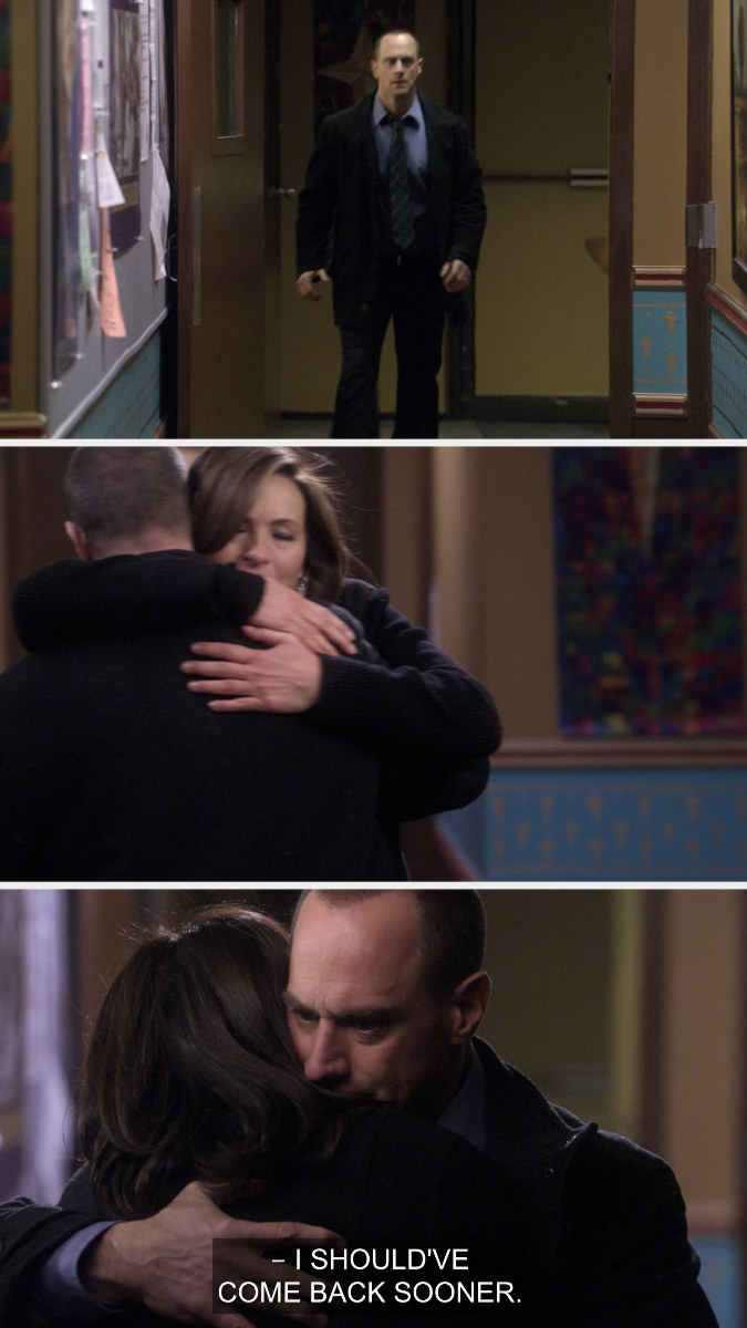 Benson and Stabler hugging after the death of Sonya Paxton