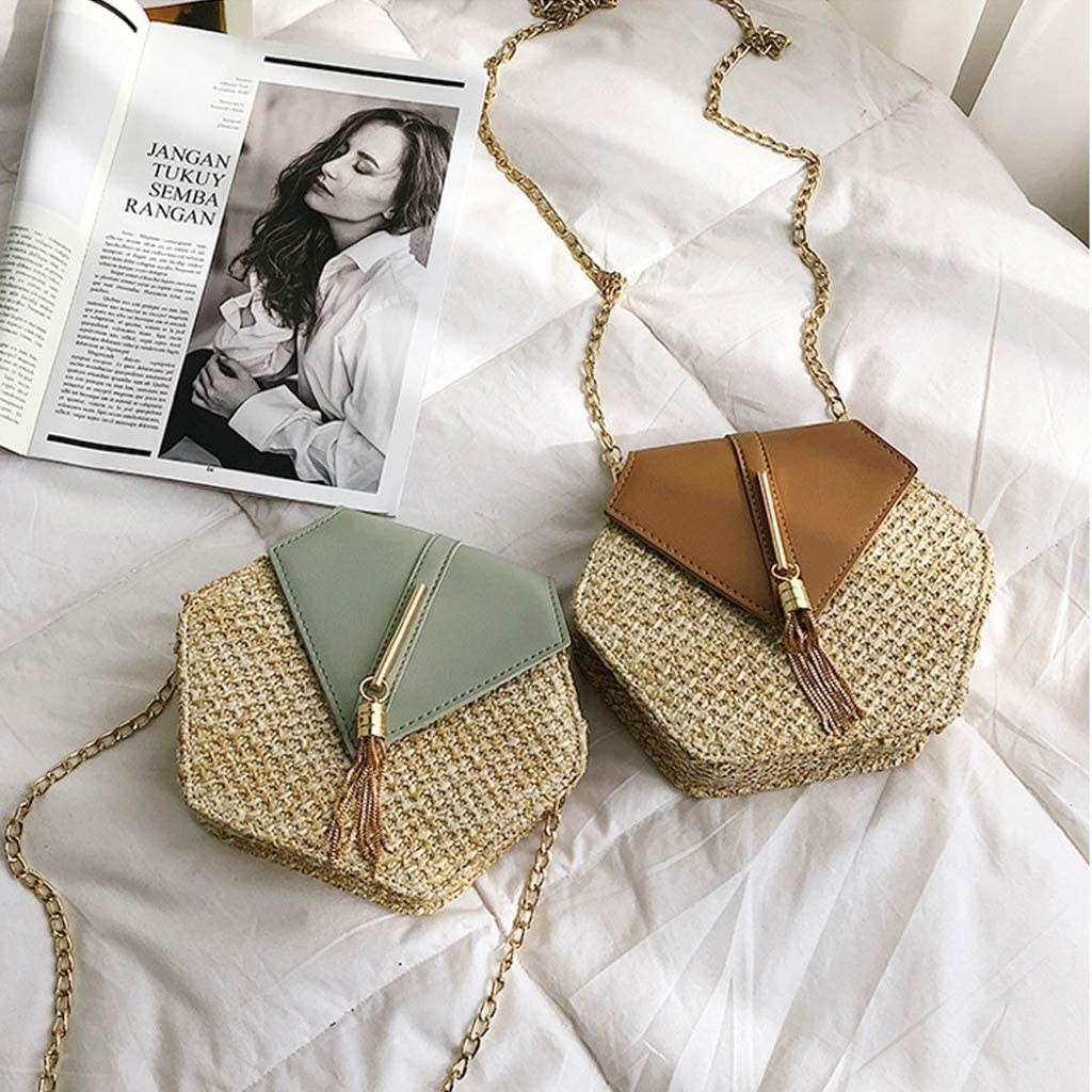 the mint green and brown bags on a bed