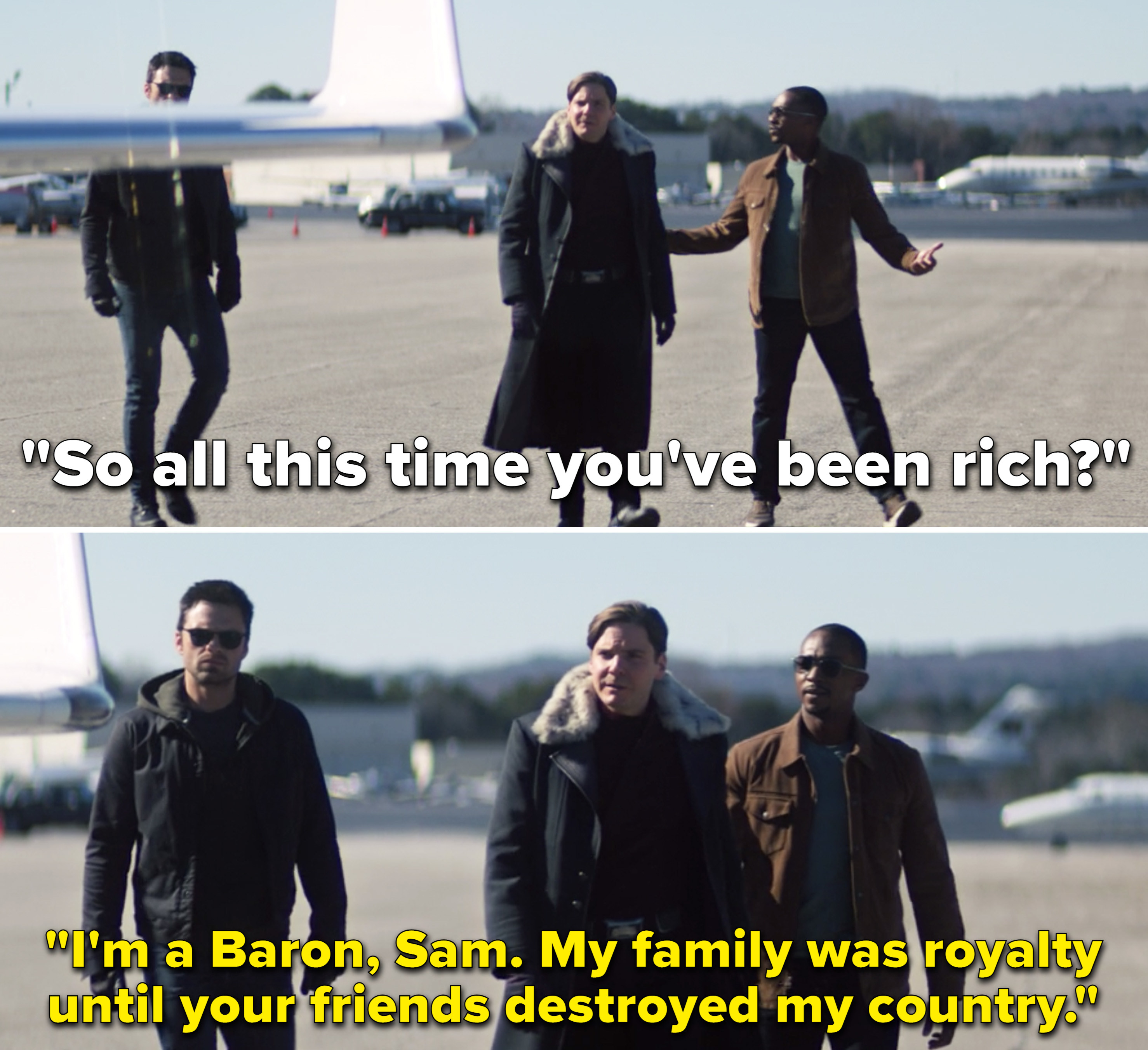 """Zemo saying, """"I'm a Baron, Sam. My family was royalty until your friends destroyed my country"""""""