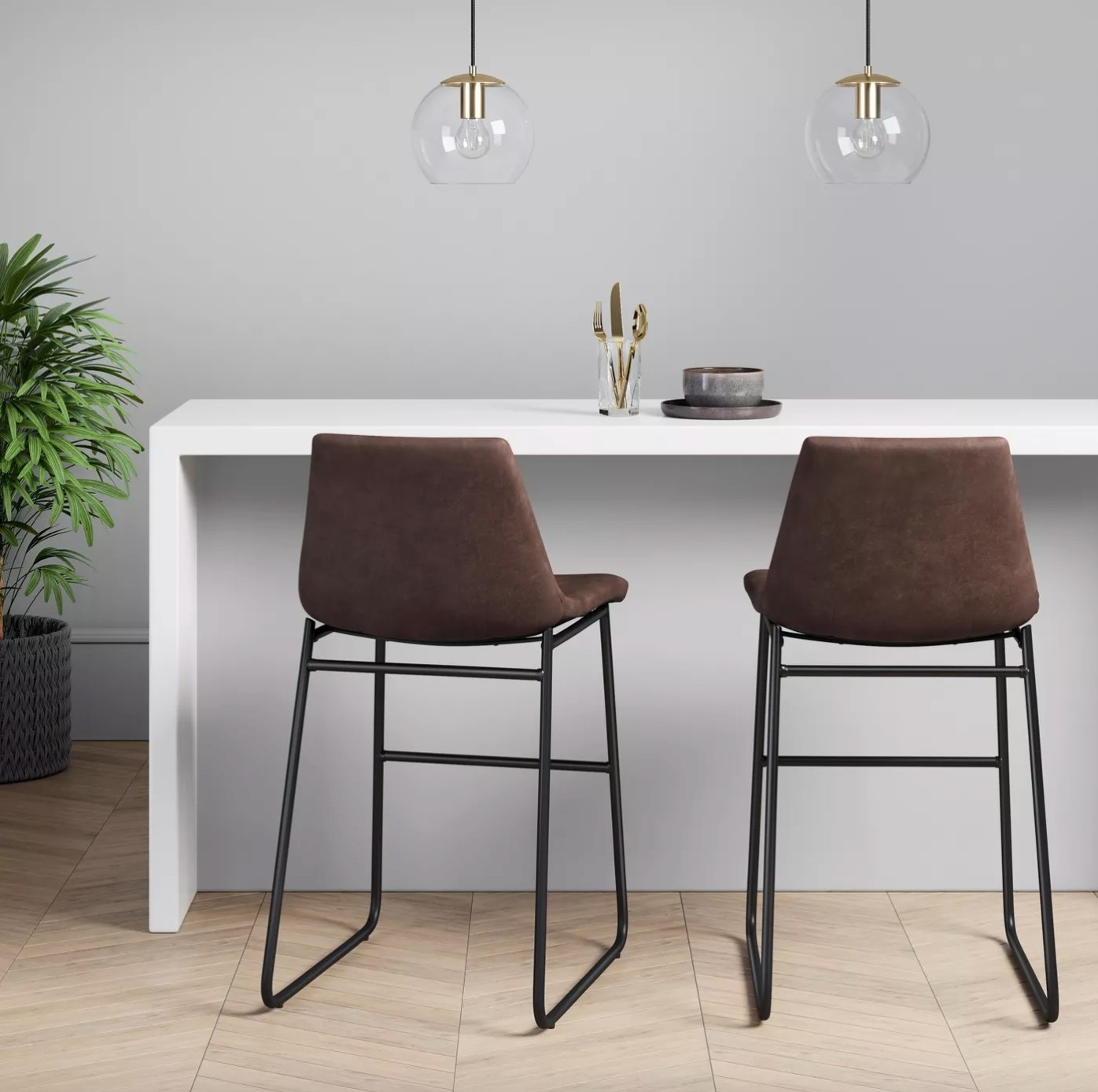 The faux leather bar stool in brown