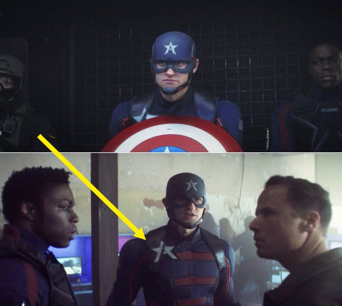 A yellow arrow pointing to the white star on John Walker's suit