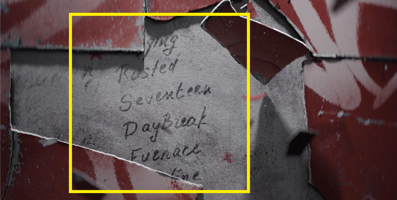 "The words ""Seventeen. Daybreak"" appearing under peeling paper"
