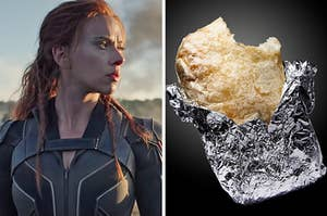 """On the left, Scarlett Johansson in """"Black Widow,"""" and on the right, a burrito wrapped in foil with a bite taken out of it"""