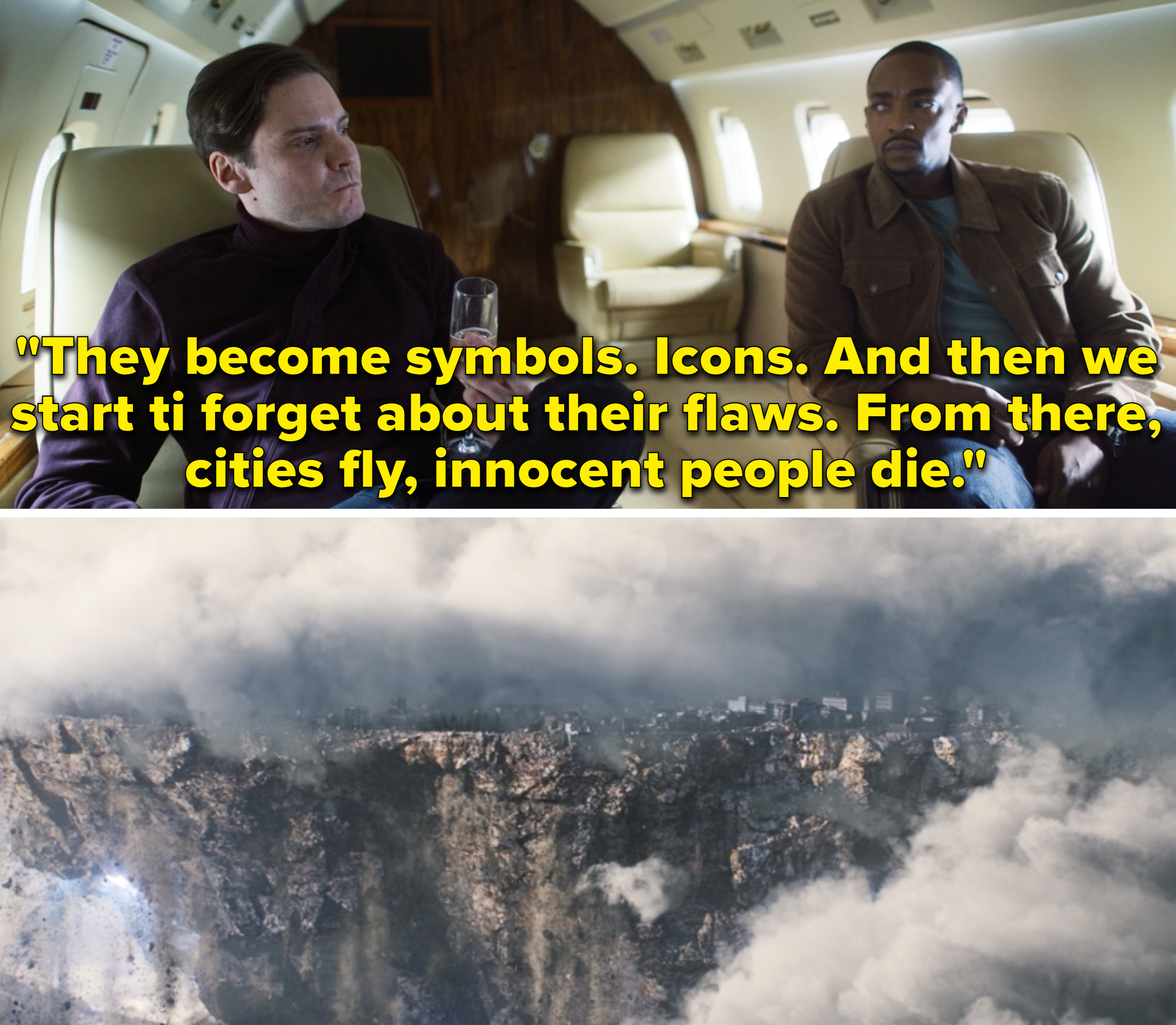 """Zemo saying, """"They become symbols. Icons. And then we start ti forget about their flaws. From there, cities fly, innocent people die"""""""