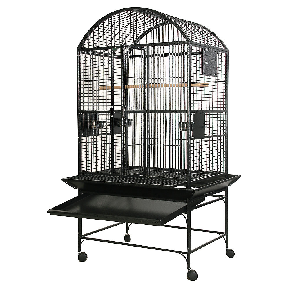 The smallest size wire birdcage in black on its own stand with wheels