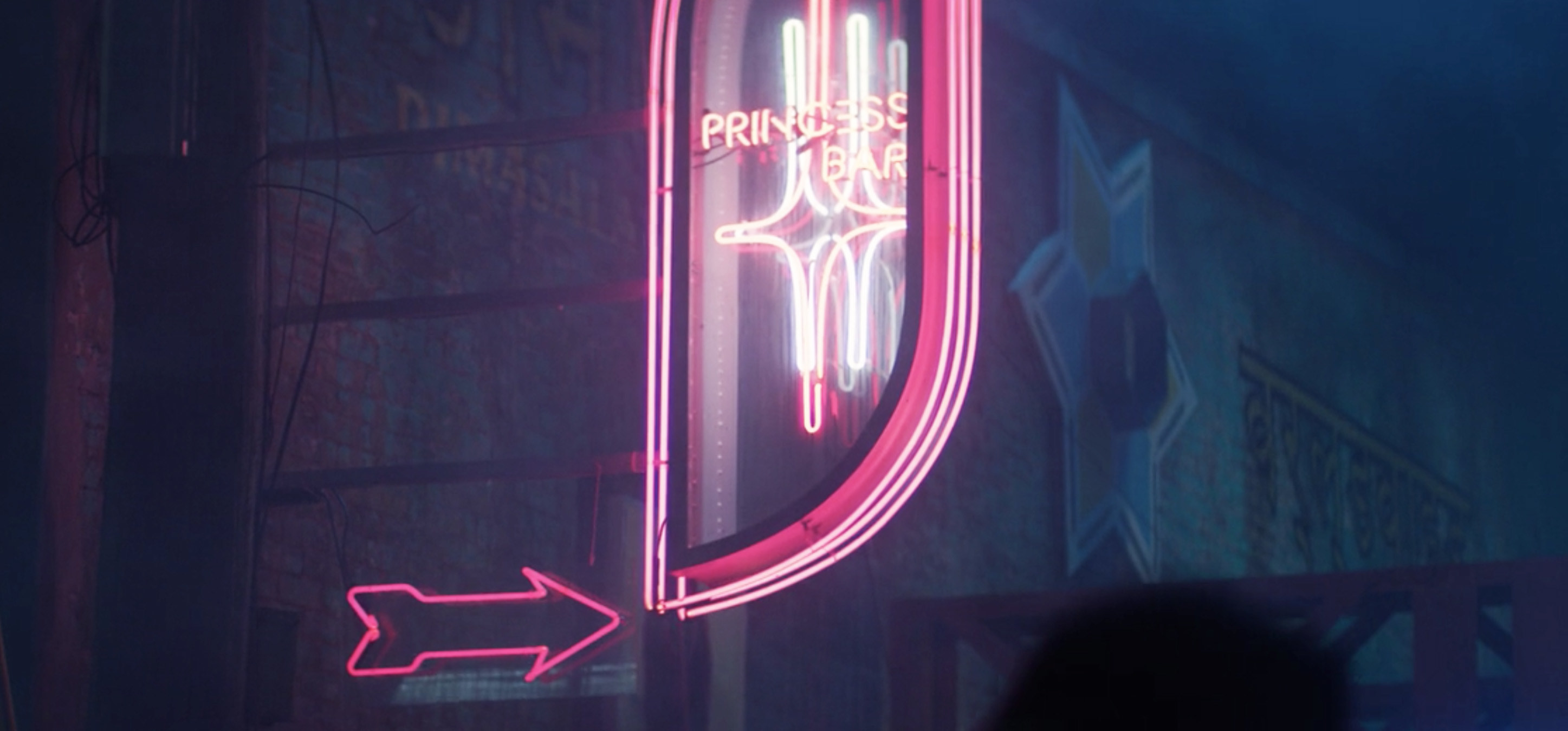 "A close-up of a pink neon sign reading ""Princess Bar"""