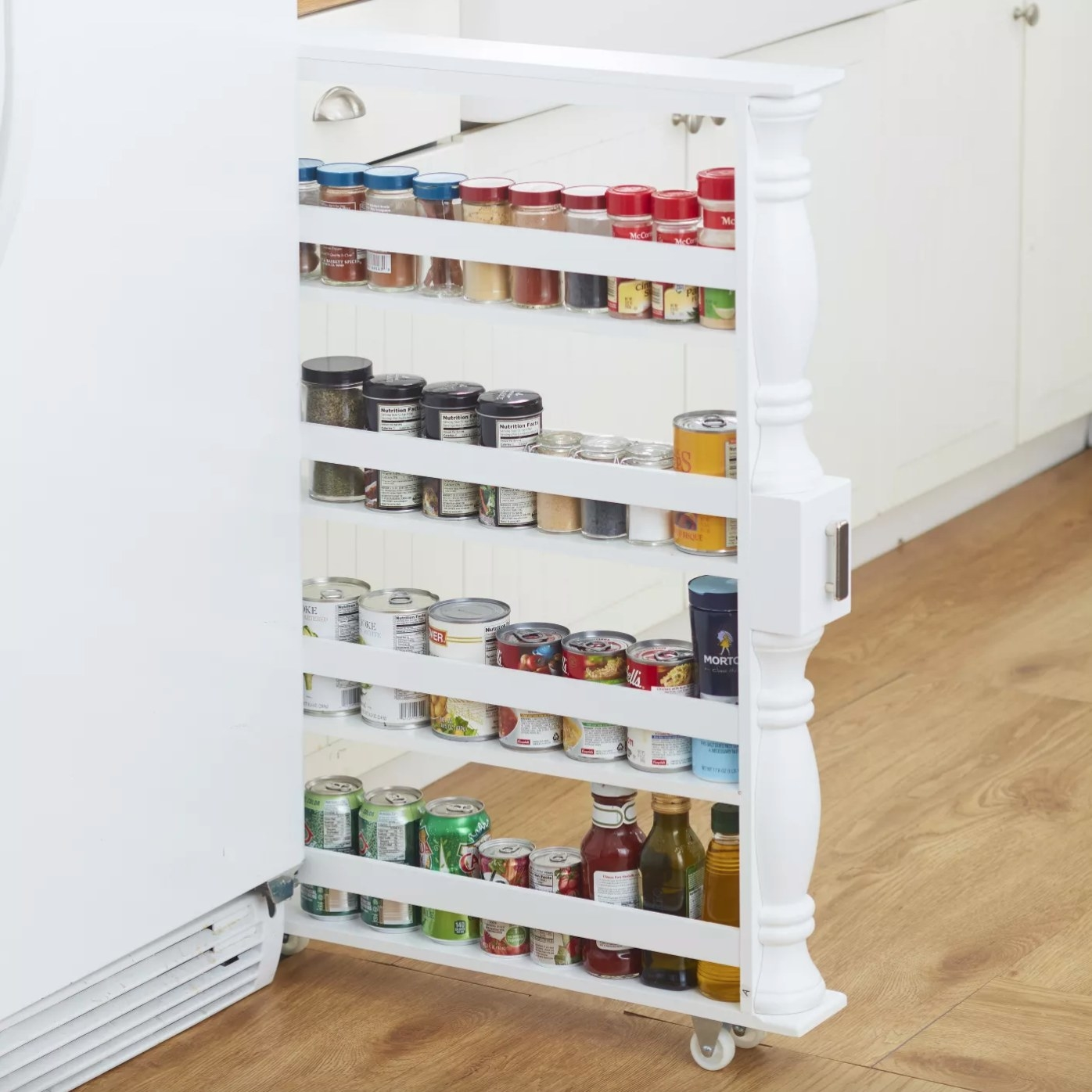 The slim rolling spice rack in white