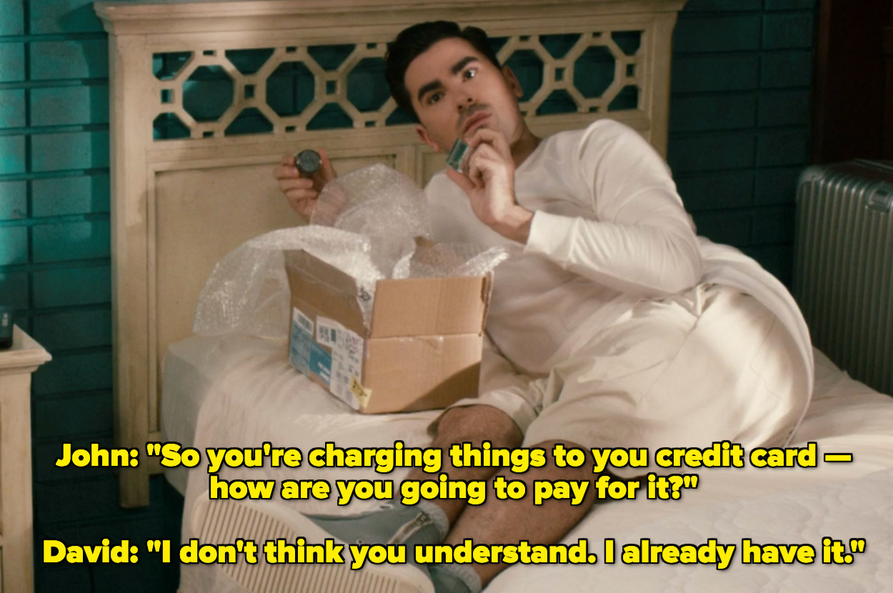 John asking David how he will pay for the credit card purchase