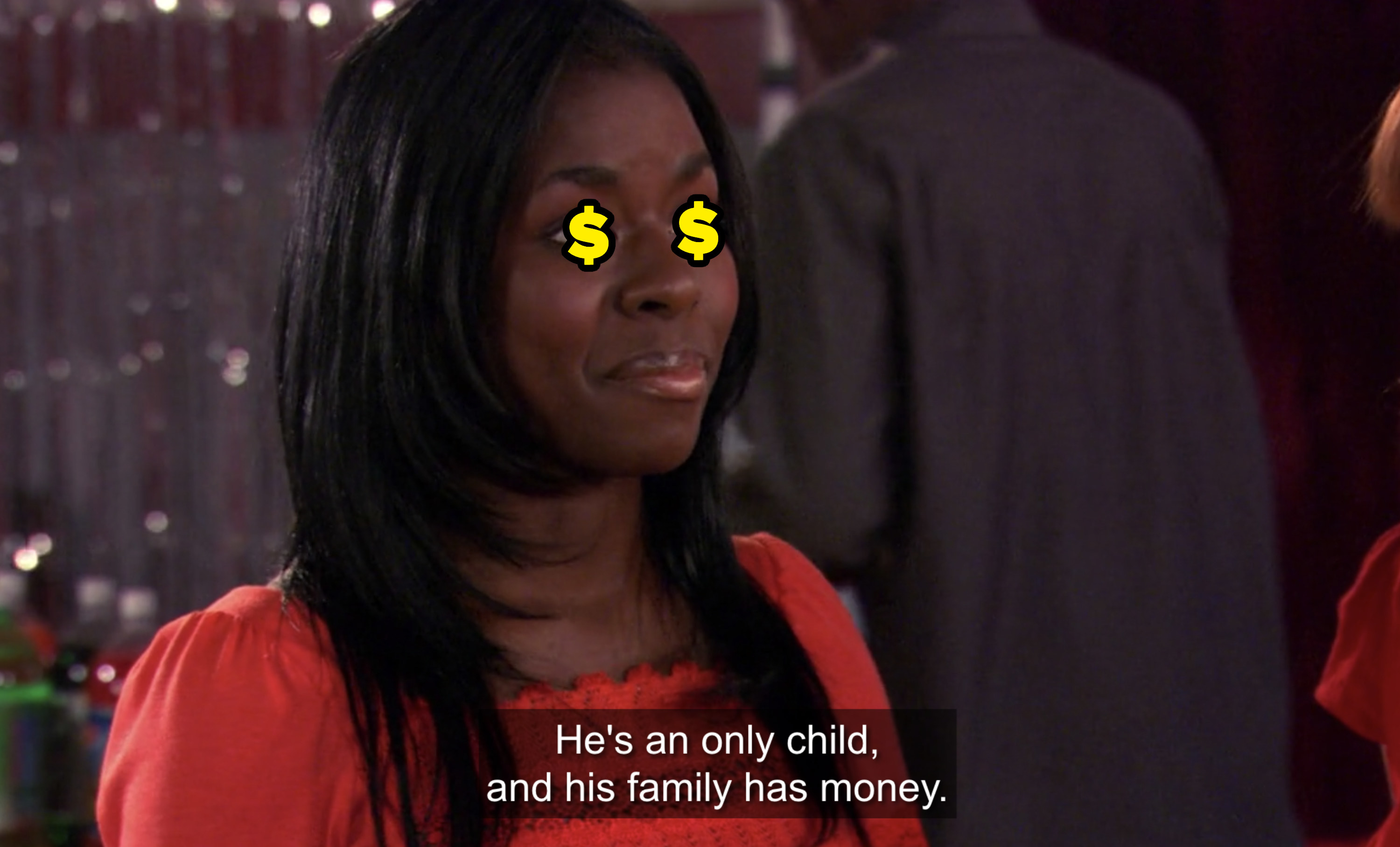 amy's friend telling her he's an only child and his family has money