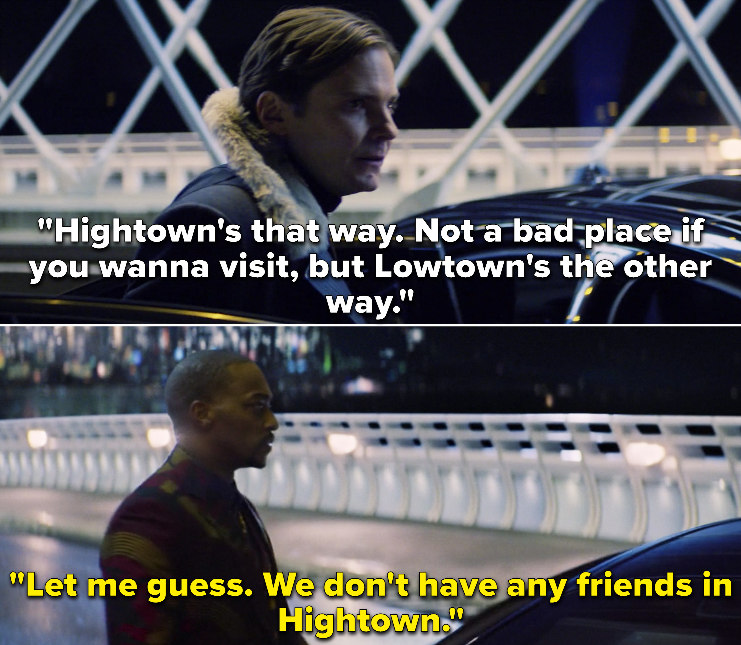 """Zemo explaining that Hightown is """"not a bad place if you wanna visit, but Lowtown's the other way"""""""