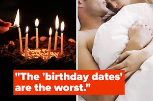 a birthday cake being lit next to a couple cuddling