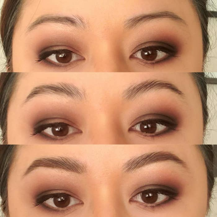 Progression photo showing reviewer's natural brows, the brows with the soap applied, and the brows with soap and powder applied