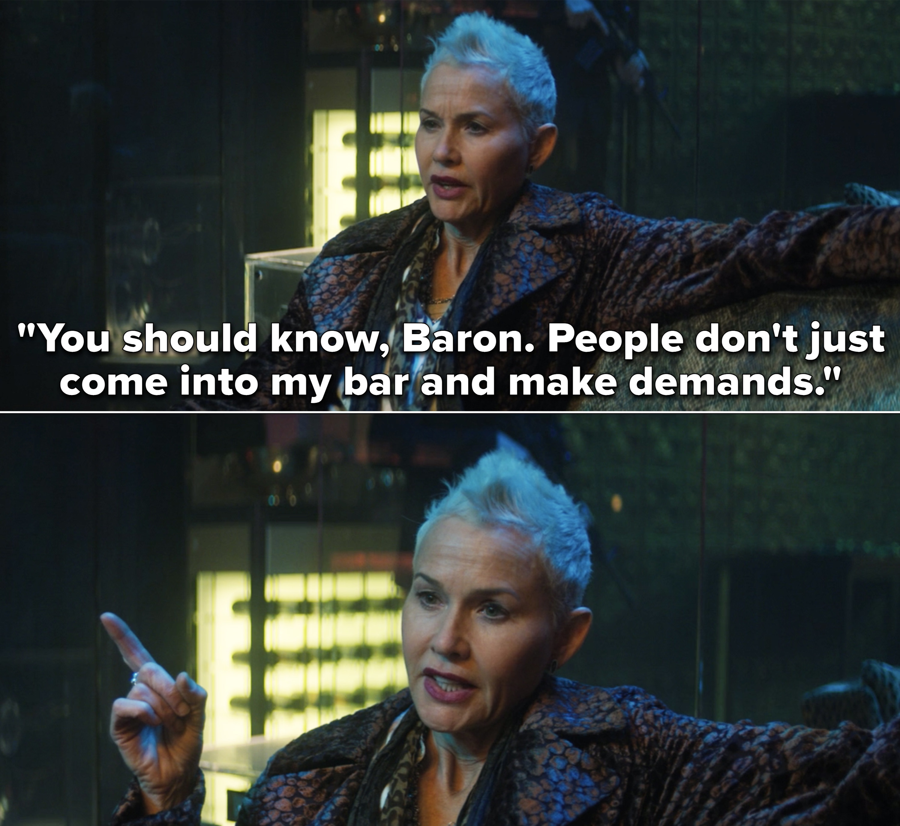 """Selby saying, """"You should know, Baron. People don't just come into my bar and make demands"""""""