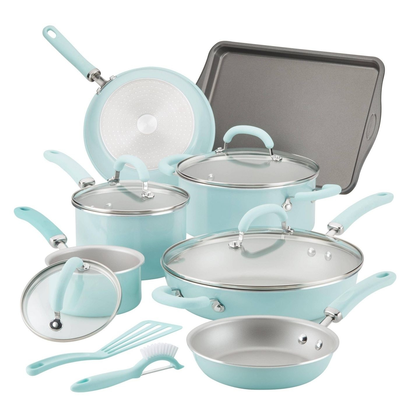 mint green cookware set with pots and pans