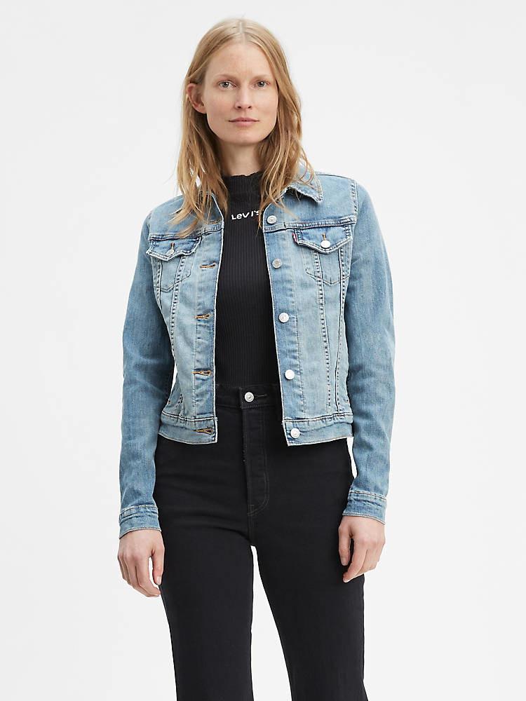 model wearing the blue denim jacket