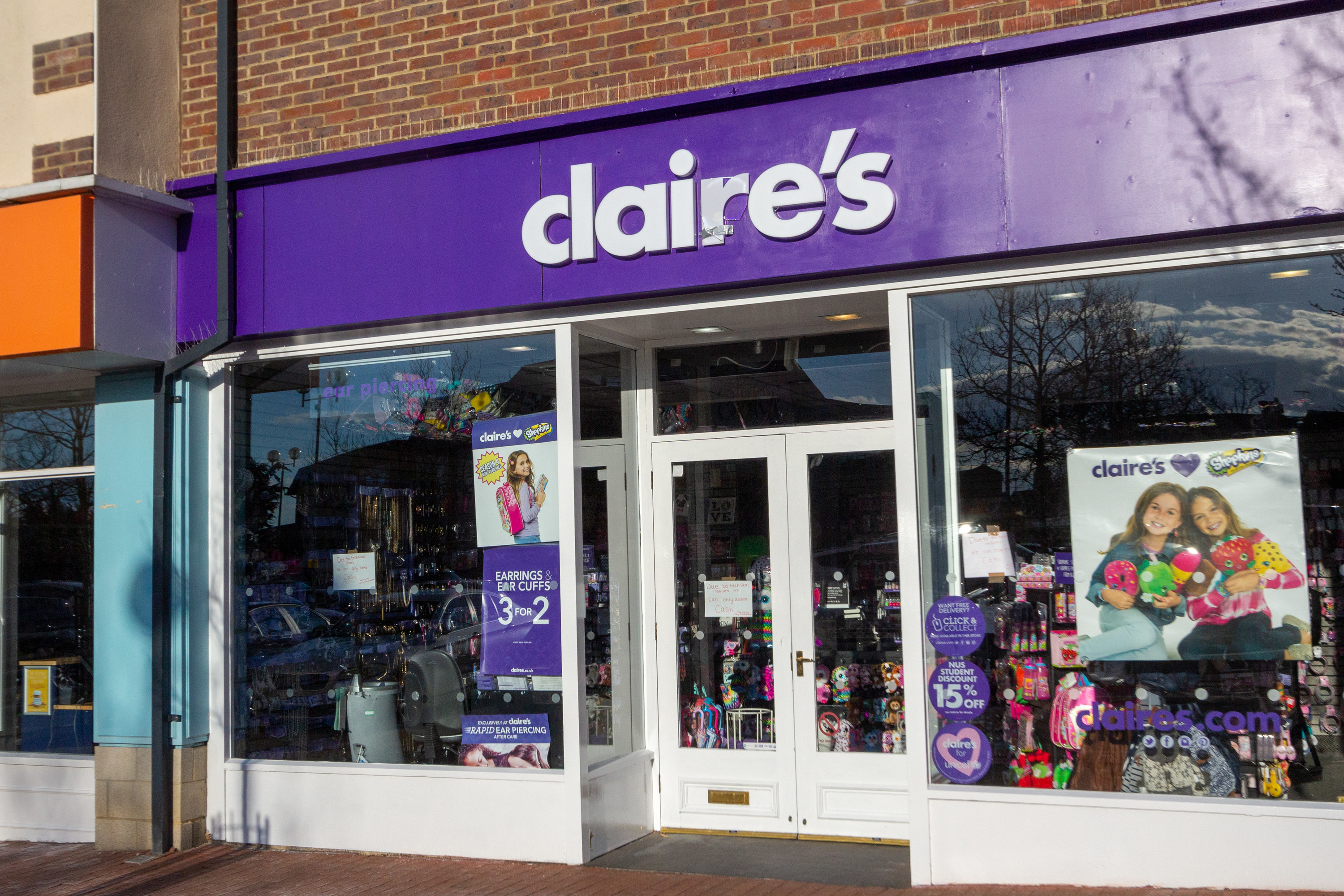 the outside of a claire's store