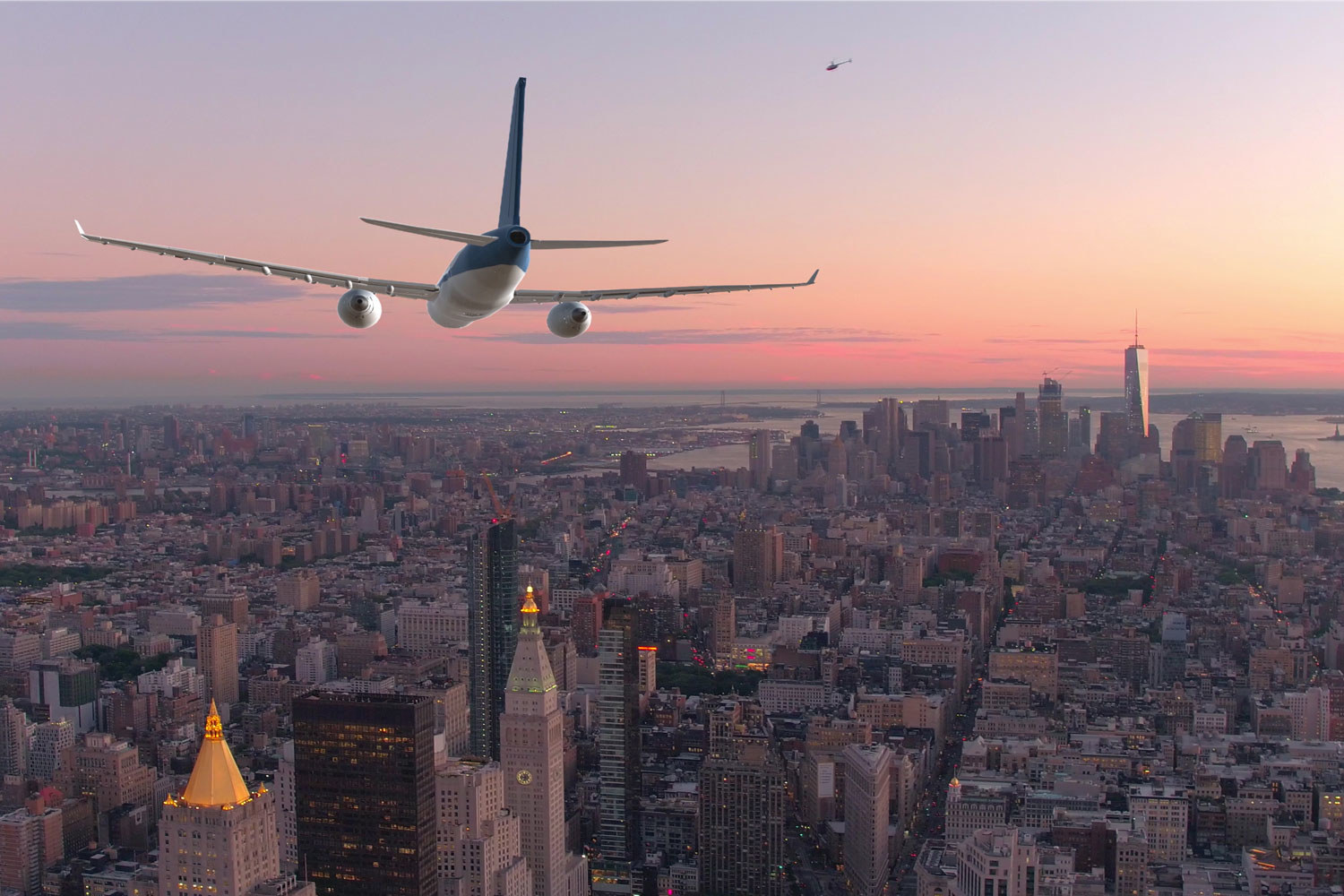 A plane landing in NYC