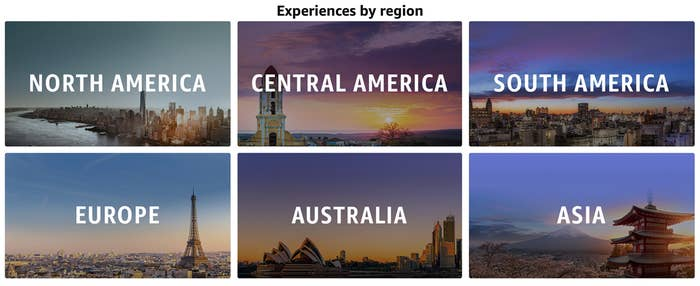 a screenshot of the experiences by region