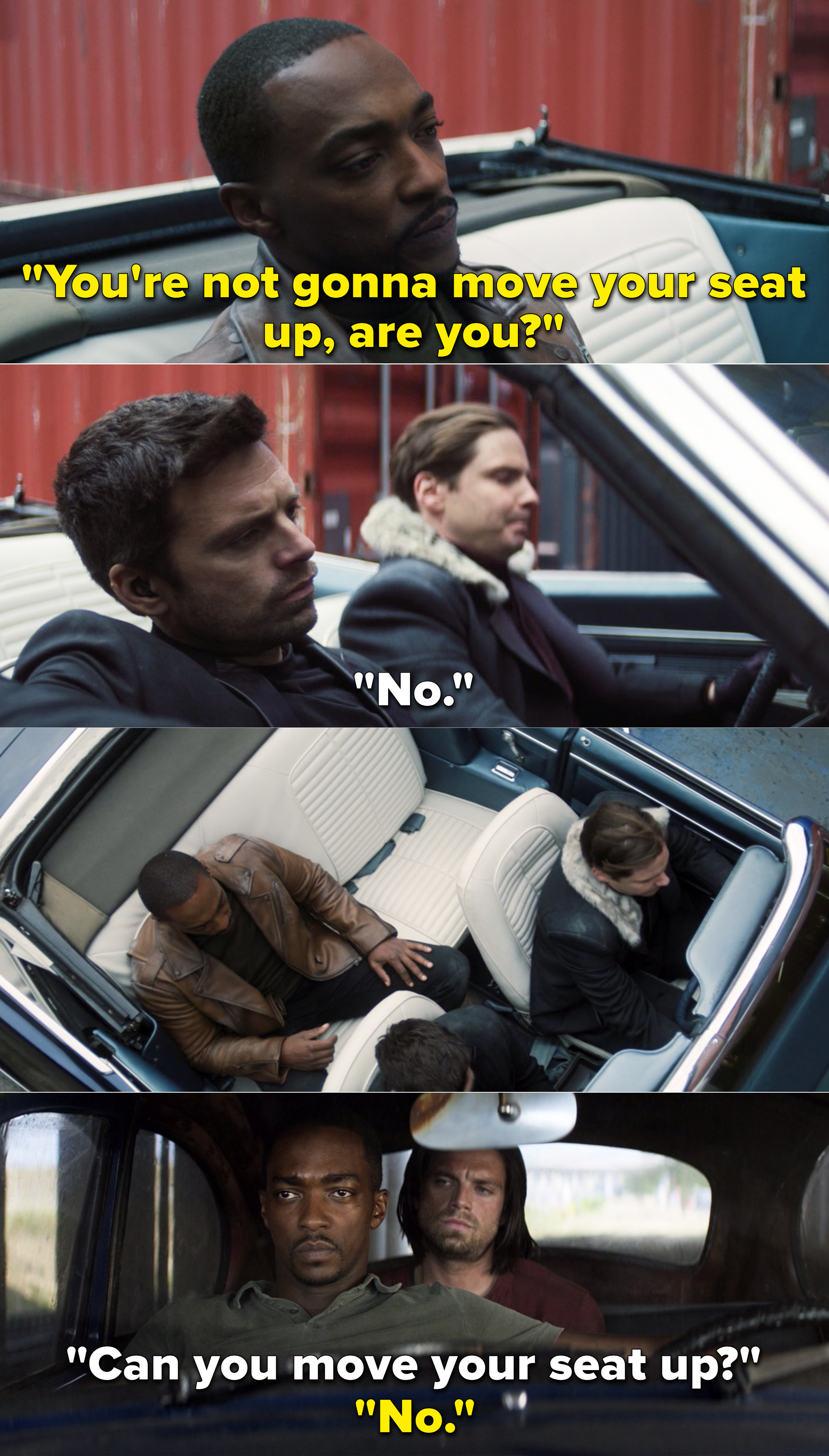 """Sam saying, """"You're not gonna move your seat up, are you?"""" vs. Bucky saying, """"Can you move your seat up?"""""""