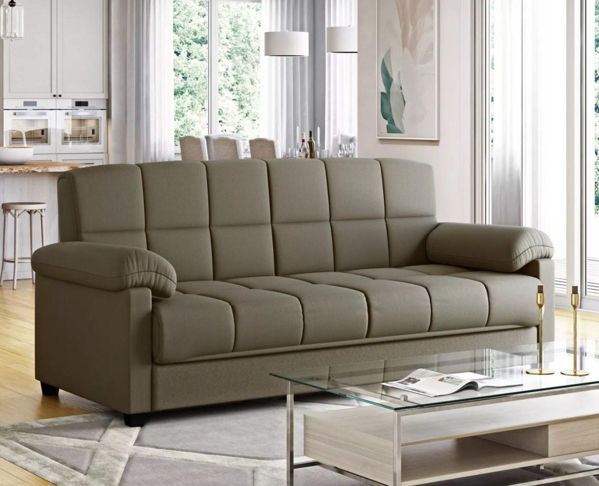 The futon sleeper sofa in soft sage