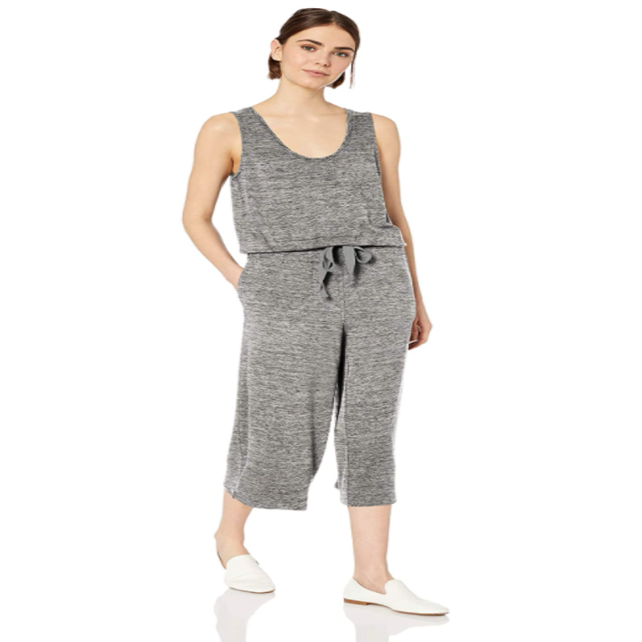 model wearing the jumpsuit in heather gray