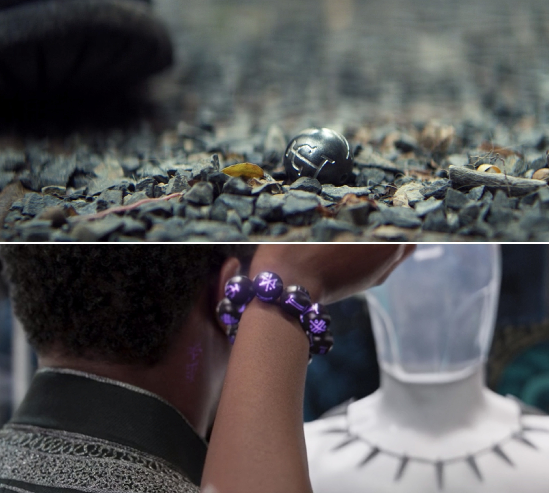 A kimoyo bead on the gravel vs. Shuri wearing them as a bracelet