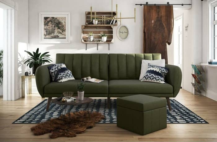 a green convertible couch