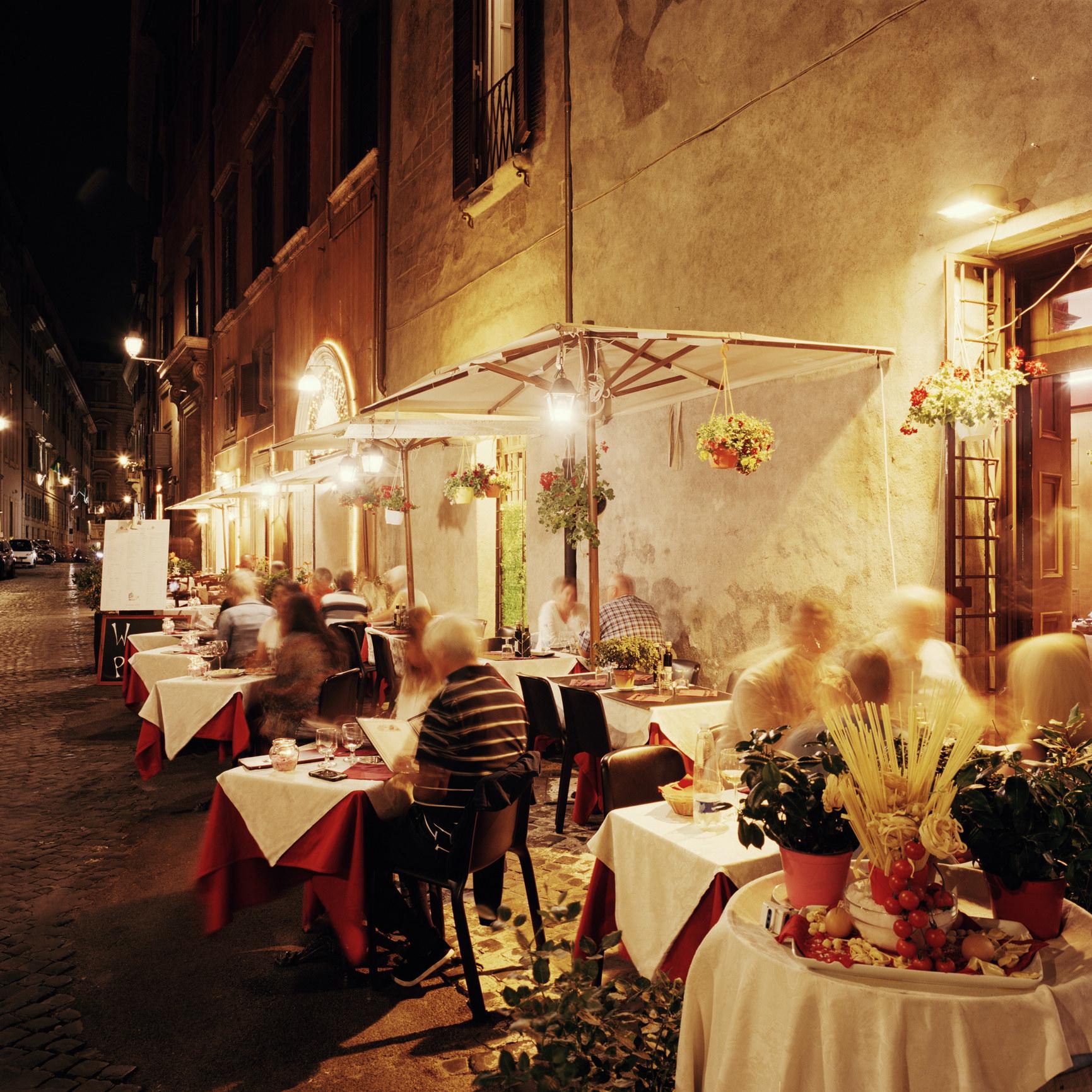 An Italian restaurant at night.