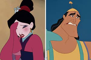 "On the left, Mulan closing her eyes and covering her face in shame, and on the right, Kronk from ""The Emperor's New Groove"" wincing"