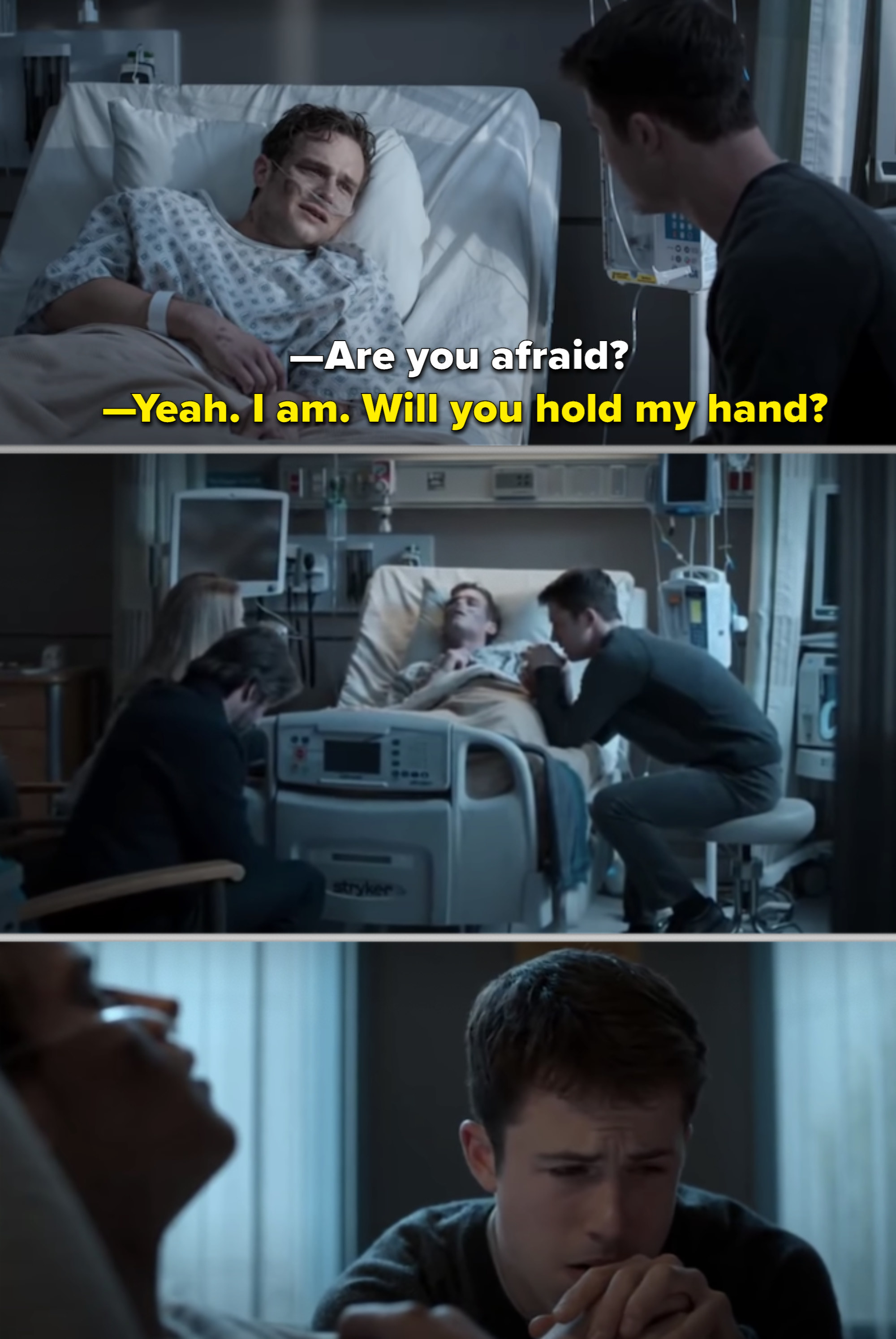 Clay holding Justin's lifeless hand in the hospital