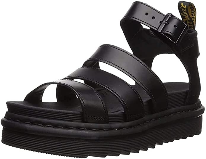 chunky black sandals with horizontal straps across the foot and an ankle strap