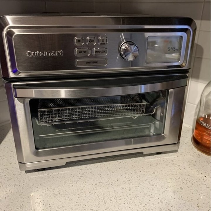 the chrome toaster on a counter
