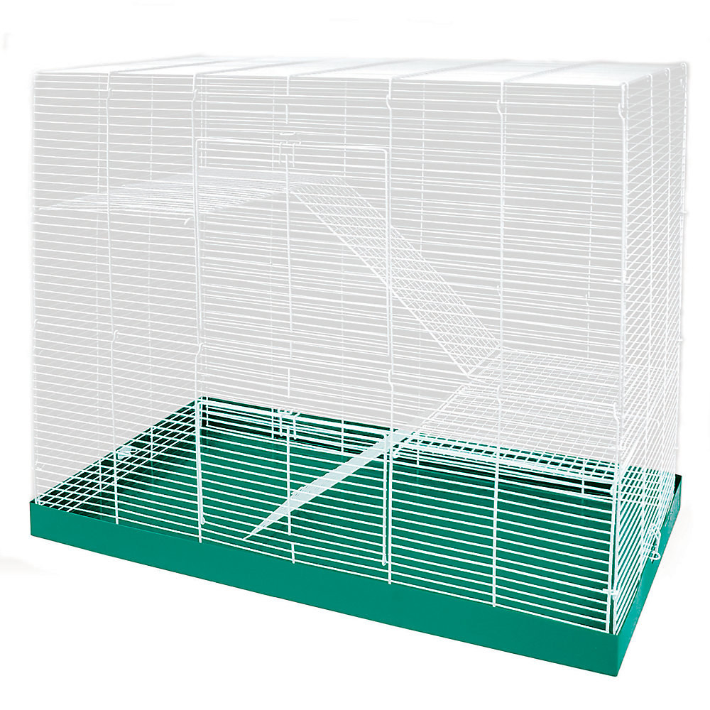 The white metal cage and green bottom